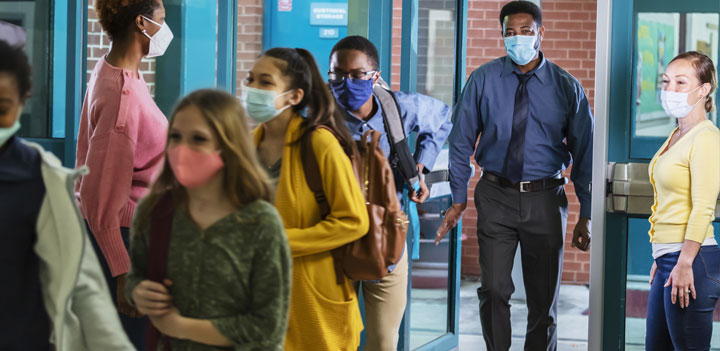 students arriving at school