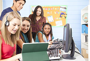 High School students at computer