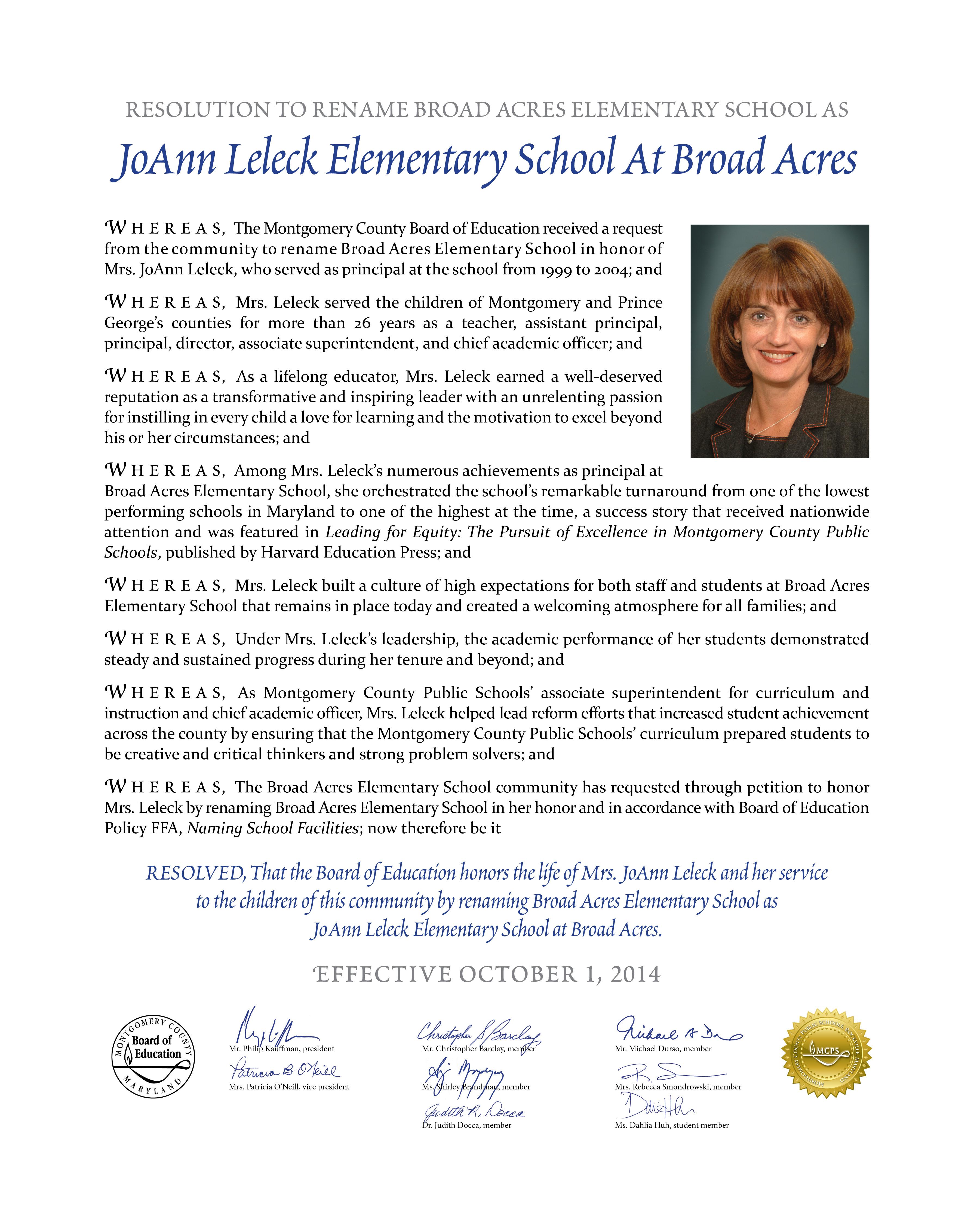 Renamin resolution for JoAnn Leleck Elementary