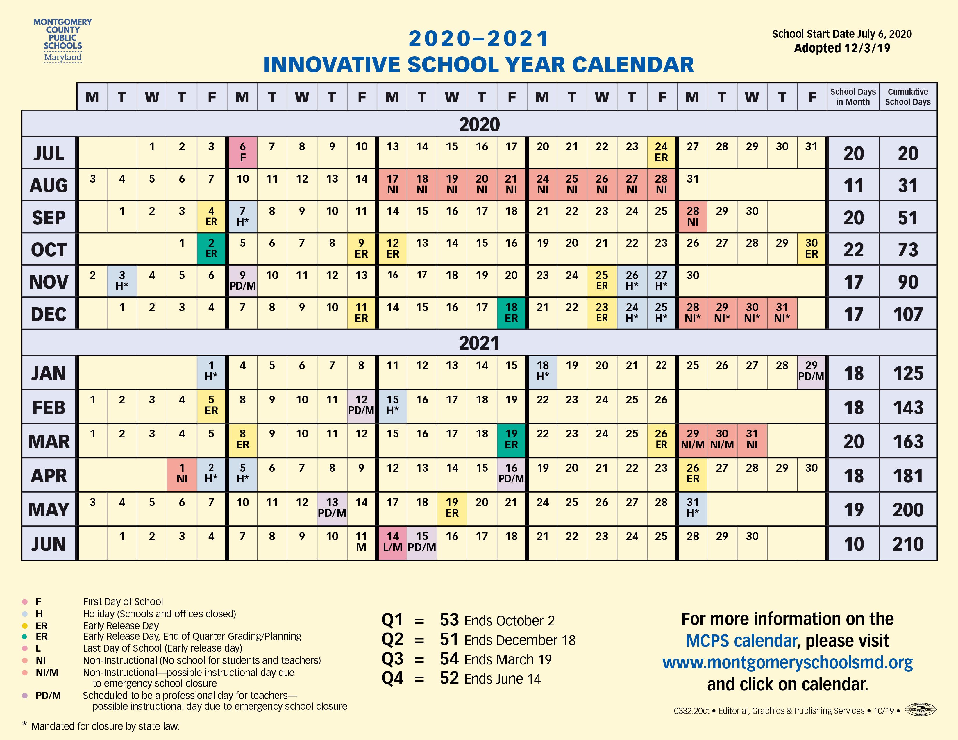 Proposed Calendar 2020 2021   Montgomery County Public Schools