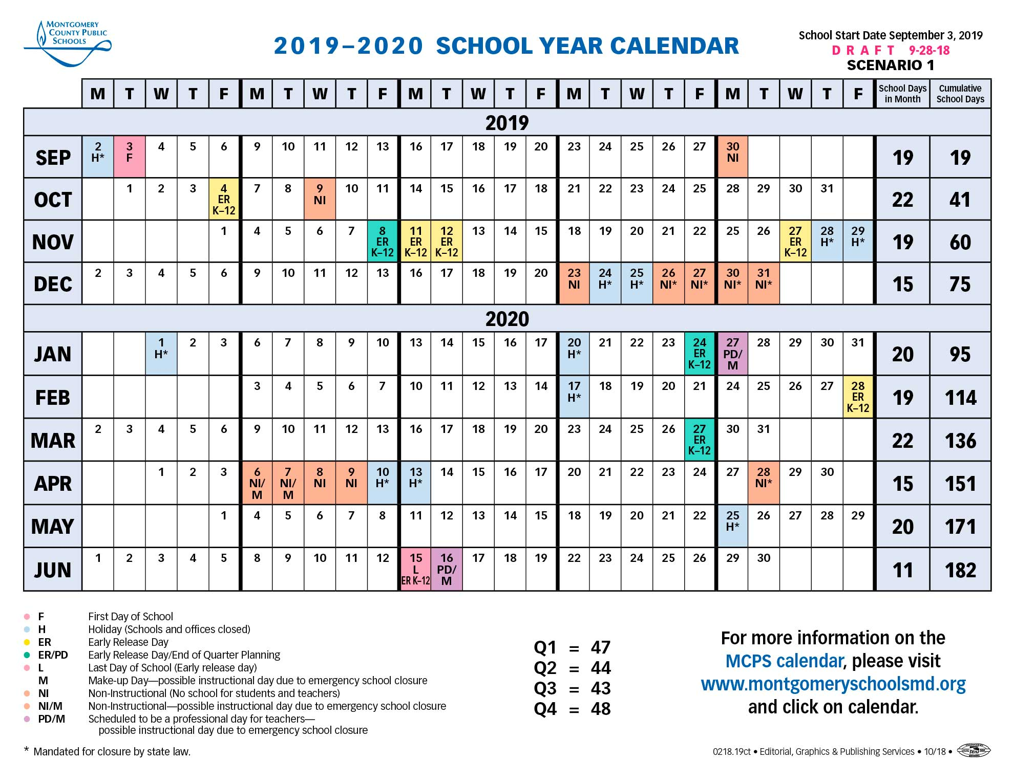 Proposed Calendar 2019 2020 Montgomery County Public Schools