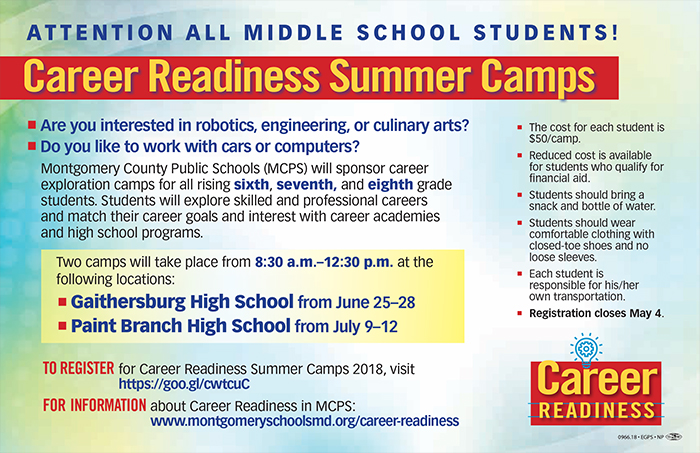 fy19 career readiness summer camp flyer