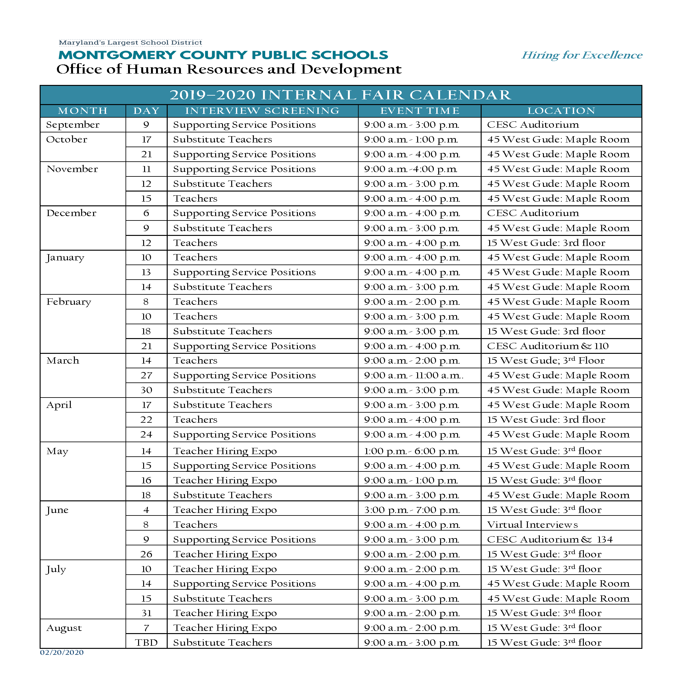 MCPS Internal Recruitment Calendar