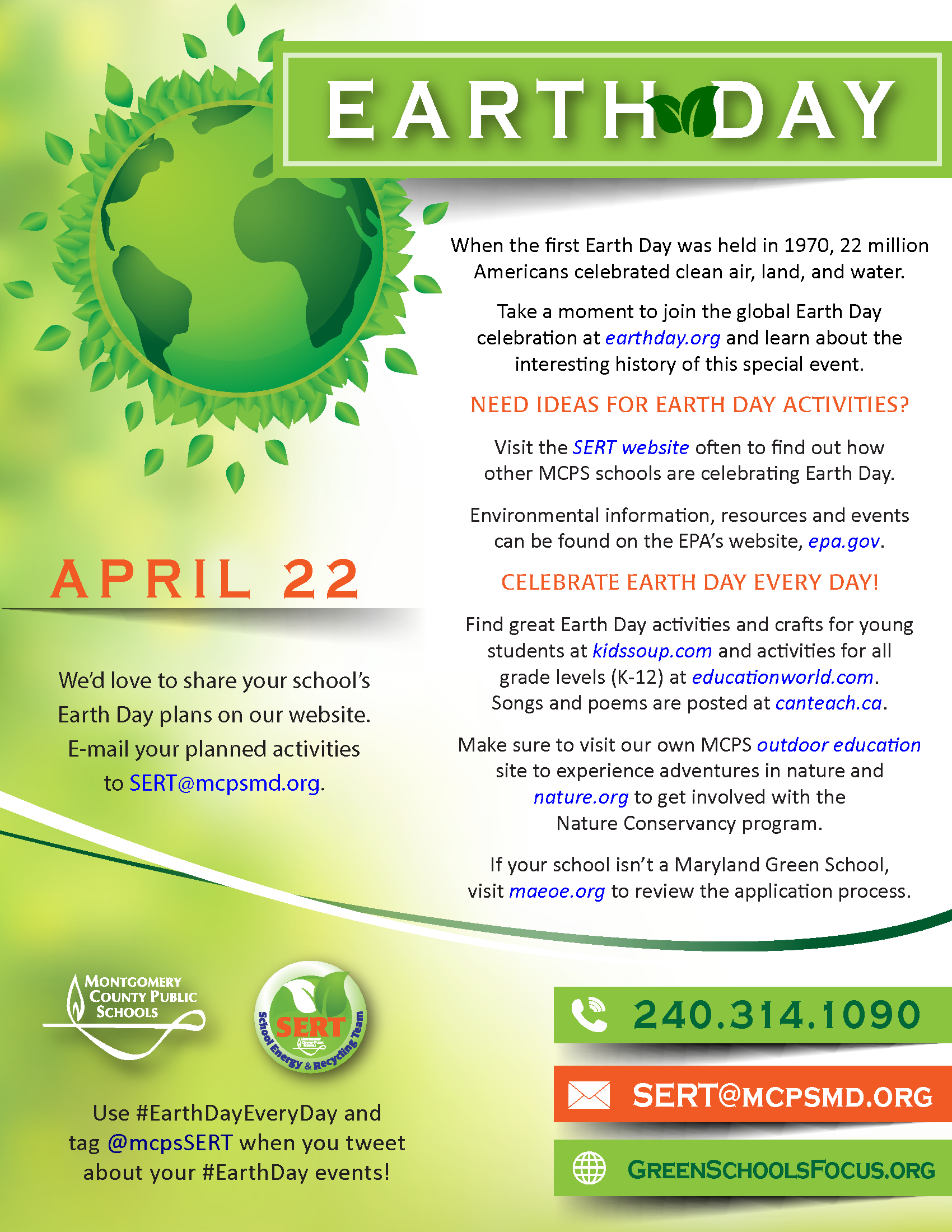 Click here for the Earth Day flyer