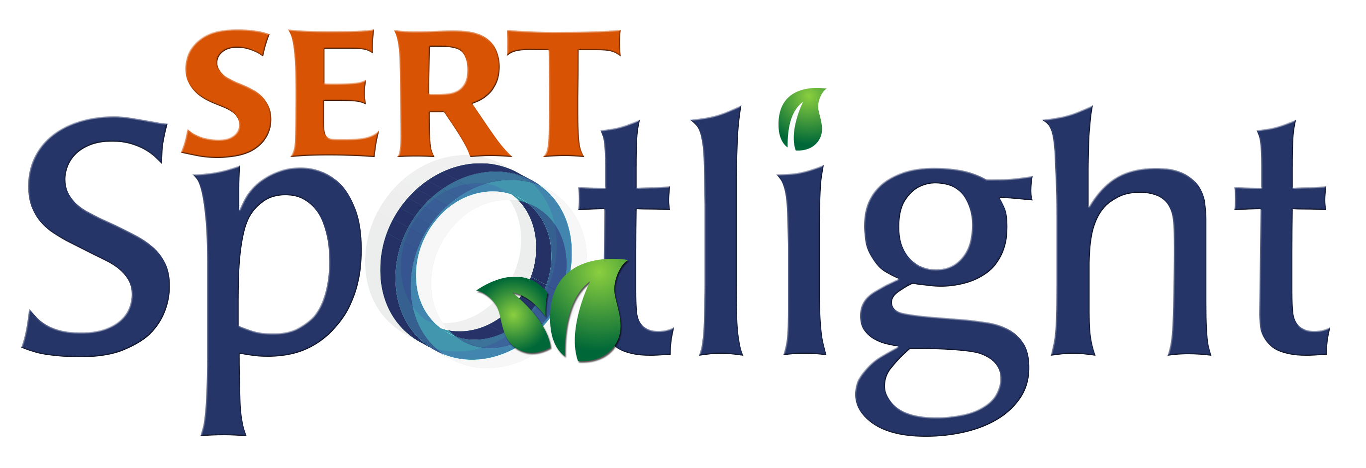 SERT Spotlight logo features title text and leaves and a 3D letter O