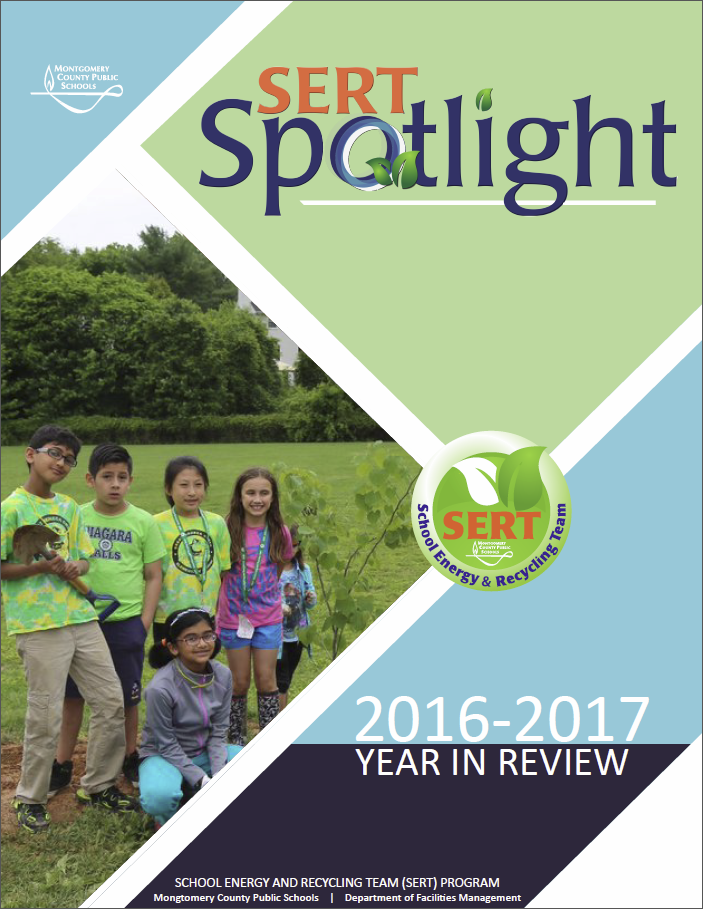 The cover of the 2016-2017 SERT Spotlight Flipbook features a photograph of one of our SERT teams posing with a tree they planted; the SERT logo and the SERT Spotlight logo