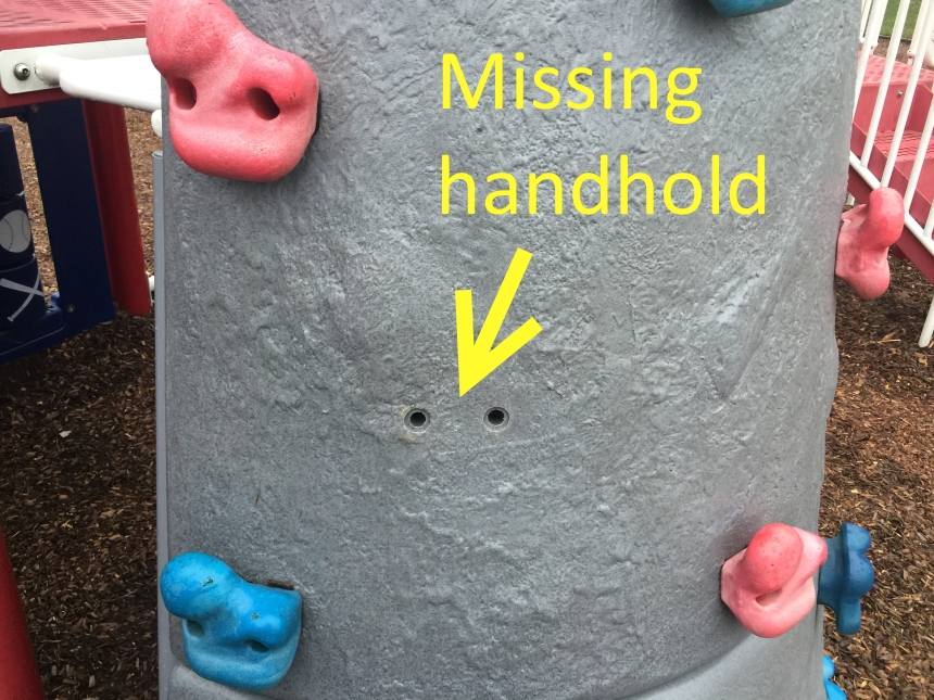 Missing climber handhold