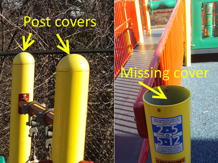 Missing play equipment post cover